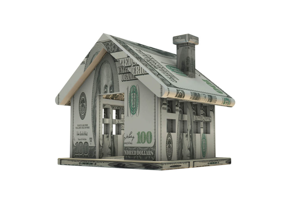 a house made out of dollar bills